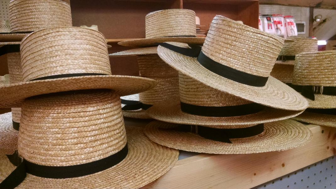 Amish hats stacked