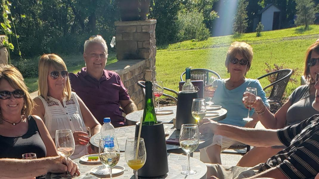 Friends gather at Lincoln Way Vineyards in Wooster
