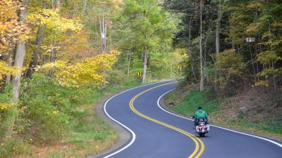 Riding motorcycle on curvy roads